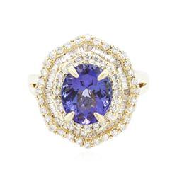 14KT Yellow Gold 2.74 ctw Tanzanite and Diamond Ring