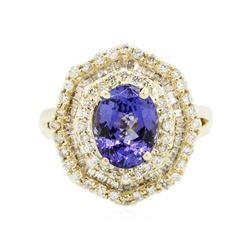14KT Yellow Gold 2.28 ctw Tanzanite and Diamond Ring