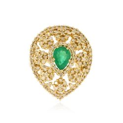 14KT Yellow Gold 0.94 ctw Emerald and Diamond Ring