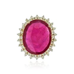 14KT Yellow Gold 24.42 ctw Ruby and Diamond Ring
