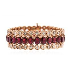14KT Rose Gold 44.70 ctw Ruby and Diamond Bracelet