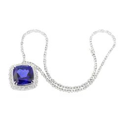 18KT White Gold GIA Certified 68.80 ctw Tanzanite and Diamond Necklace