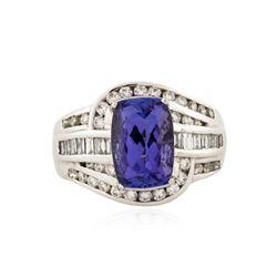 18KT White Gold 3.72 ctw Tanzanite and Diamond Ring