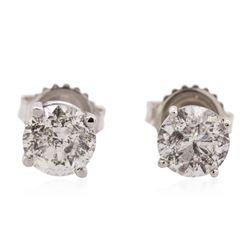 14KT White Gold 2.08 ctw Diamond Solitaire Earrings