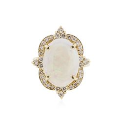 14KT Yellow Gold 3.79 ctw Opal and Diamond Ring