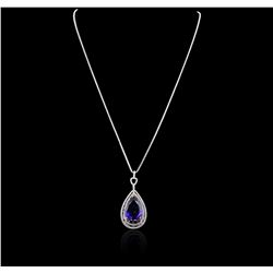 14KT White Gold GIA Certified 17.24 ctw Tanzanite and Diamond Pendant With Chain
