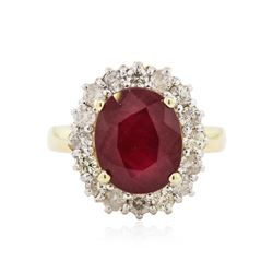 14KT Yellow Gold 5.19 ctw Ruby and Diamond Ring
