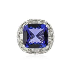 18KT White Gold GIA Certified 19.06 ctw Tanzanite and Diamond Ring