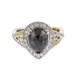 18KT Two-Tone Gold 2.72 ctw Black Diamond Ring