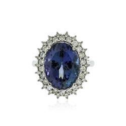 14KT White Gold 9.53 ctw Tanzanite and Diamond Ring