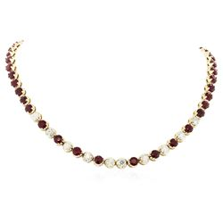 14KT Yellow Gold 10.56 ctw Ruby and Diamond Necklace