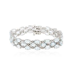 14KT White Gold 19.38 ctw Aquamarine and Diamond Bracelet