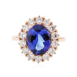 14KT Rose Gold 2.89 ctw Tanzanite and Diamond Ring