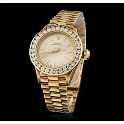 Ladies Rolex 14KT Yellow Gold 1.45 ctw Diamond Oyster Perpetual Wristwatch