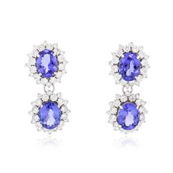14KT White Gold 10.92 ctw Tanzanite and Diamond Earrings