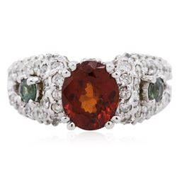 14KT White Gold 2.49 ctw Garnet, Alexandrite and Diamond Ring