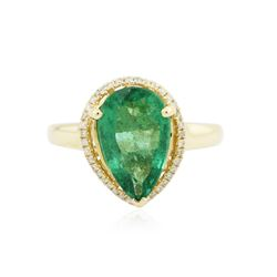 14KT Yellow Gold 2.68 ctw Emerald and Diamond Ring