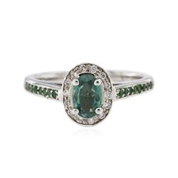 14KT White Gold 0.79 ctw Alexandrite, Tsavorite and Diamond Ring