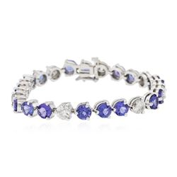 14KT White Gold 14.58 ctw Tanzanite and Diamond Tennis Bracelet