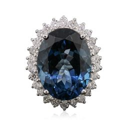 14KT White Gold 21.45 ctw Blue Topaz and Diamond Ring