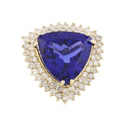 14KT Yellow Gold 21.69 ctw GIA Cert Tanzanite and Diamond Ring