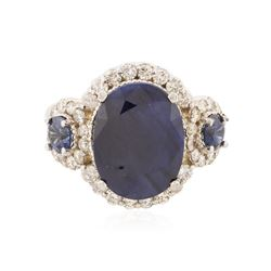 14KT White Gold 5.04 ctw Sapphire and Diamond Ring
