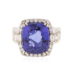 14KT White Gold GIA Certified 11.73 ctw Tanzanite and Diamond Ring