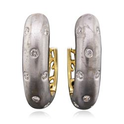 14KT Two-Tone Gold 0.10 ctw Diamond Earrings