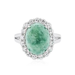 SILVER 7.47 ctw Emerald and White Sapphire Ring