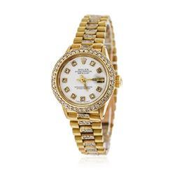 Ladies Rolex 18KT Yellow Gold 1.50 ctw Diamond DateJust Wristwatch