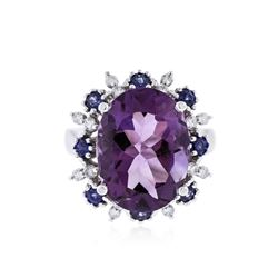 14KT White Gold 8.37 Amethyst, Sapphire and Diamond Ring