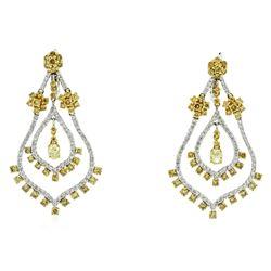 18KT Two Tone Gold 3.54 ctw Diamond Dangle Earrings