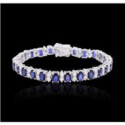 14KT White Gold 13.00 ctw Sapphire and Diamond Bracelet