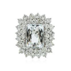 14KT White Gold 4.81 ctw Aquamarine and Diamond Ring