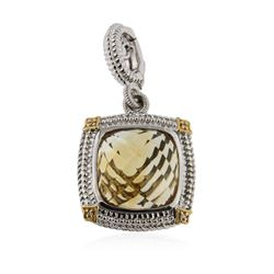 Sterling Silver 11.40 ctw Citrine and Diamond Pendant