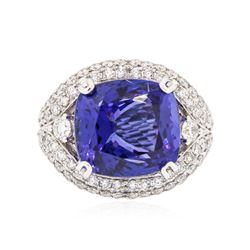 18KT White Gold GIA Certified 20.48 ctw Tanzanite and Diamond Ring