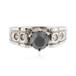 14KT White Gold 1.10 ctw Black and White Diamond Ring