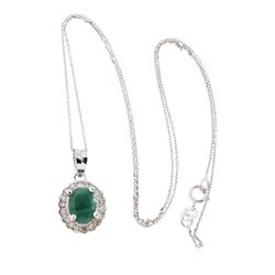 14KT White Gold 1.33 ctw Emerald and Diamond Pendant With Chain