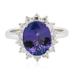14KT White Gold 3.73 ctw Tanzanite and Diamond Ring