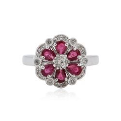 14KT White Gold 1.06 ctw Ruby and Diamond Ring