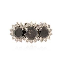 14KT White Gold 5.04 ctw Black Diamond Ring