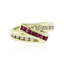14KT Yellow Gold 0.25 ctw Ruby and Diamond Ring