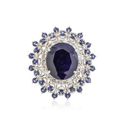 14KT White Gold 12.20 ctw Sapphire and Diamond Ring