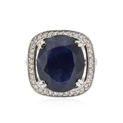 14KT White Gold 12.33 ctw Sapphire and Diamond Ring