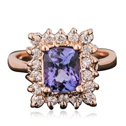 14KT Rose Gold 1.56 ctw Tanzanite and Diamond Ring