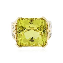 14KT Yellow Gold 22.17 ctw Citrine and Diamond Ring