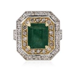 14KT White Gold 3.75 ctw Emerald and Diamond Ring