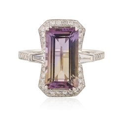 14KT White Gold 4.89 ctw Ametrine Quartz and Diamond Ring