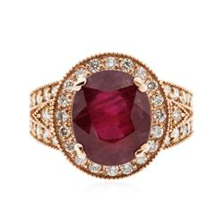 14KT Rose Gold 5.66 ctw Ruby and Diamond Ring