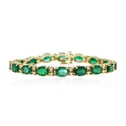 14KT Yellow Gold 11.84 ctw Emerald and Diamond Bracelet